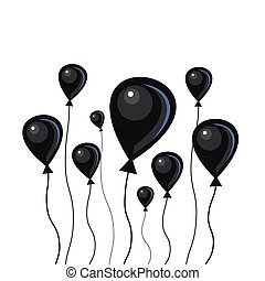 Flat black air balloons with a string on a white background.