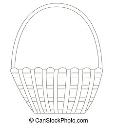 Flat black and white wicker isolated wooden picnic basket. For coloring. Vector.