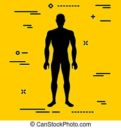 Flat black characterizing male silhouette for normal weight stage of body mass index on yellow background