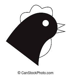Flat black chicken icon
