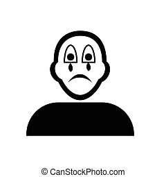 Flat black crying face emoticon icon