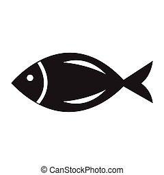 Flat black fish icon