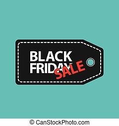 flat black friday price tag sale on blue