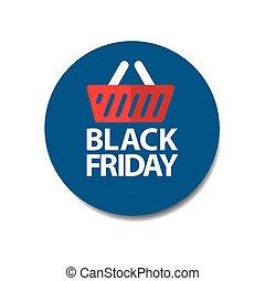 flat black friday price tag sticker on blue