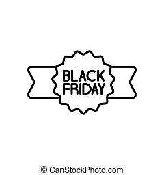 flat black friday sticker ribbon on white