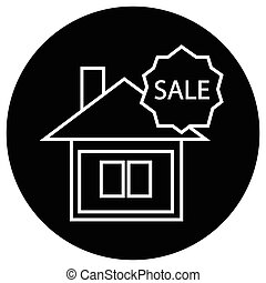 Flat black house for sale sign icon