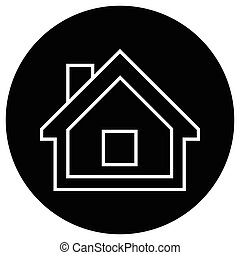 Flat black house icon