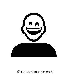 Flat black laughing emoticon icon