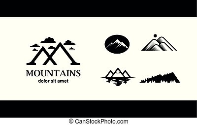 Flat black mountain logo set template for the business card, branding and corporate identity.