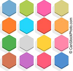 Flat blank web button hexagon icon set with shadow