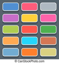 Flat blank web button rounded rectangle icon