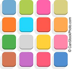 Flat blank web button rounded square icon set