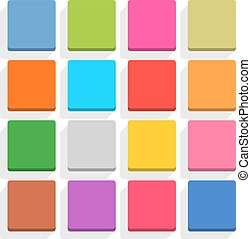 Flat blank web button square icon set with shadow
