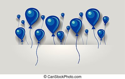 Flat blue and purple air balloons background. Balloons fly in space between layers for text.