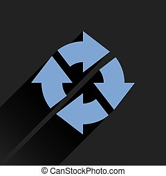 Flat blue arrow icon refresh, reset, repeat sign