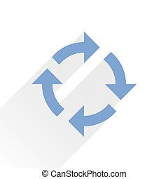 Flat blue arrow icon refresh sign on white