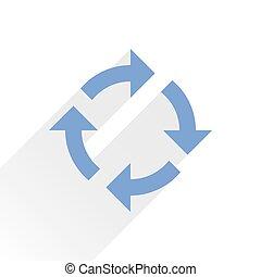 Flat blue arrow icon refresh sign on white