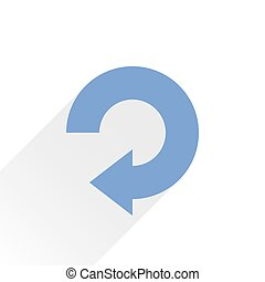 Flat blue arrow icon reload, refresh sign