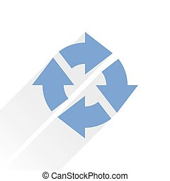 Flat blue arrow icon reload sign on white