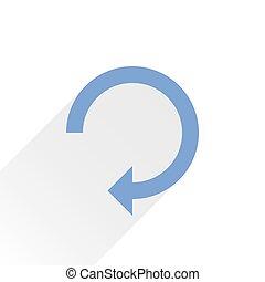 Flat blue arrow icon reset sign on white