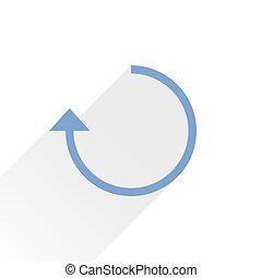Flat blue arrow icon rotation sign on white