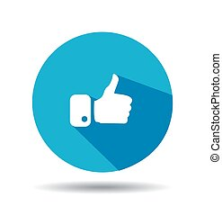 Flat Blue Button Hand Like Icon