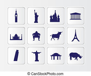 flat blue button icons on a white background of famous world lan