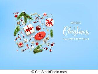 Flat Blue holiday Christmas - Blue flat lay Christmas...