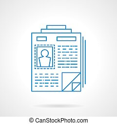 Flat blue line resume vector icon