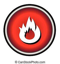Flat Bonfire icon on red circle
