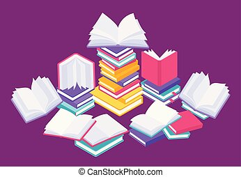 Flat books concept. Study reading and education illustration with stack of open close and flying books. Vector knowledge poster