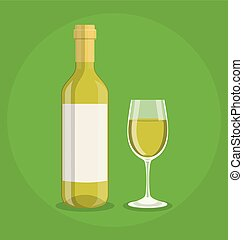 Flat bottle and a glass of wine