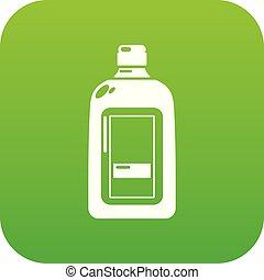 Flat bottle icon green vector