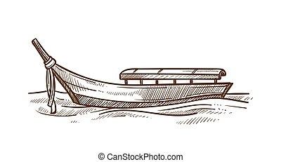 flat-bottomed, 略述, 光, 插圖, 矢量, 平底小船, 單色, 小船