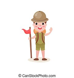 Flat boy scout standing with red flag and waving hand, summer camp activities