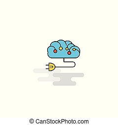 Flat Brain circuit  Icon. Vector