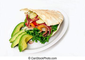 Flat Bread Sandwich - Pita bread sandwich with lettuce, ...