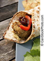 Flat bread with Falafel and Hummus