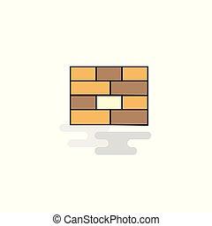 Flat Bricks wall Icon. Vector