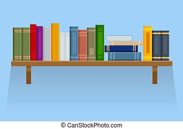 Flat brown bookshelf with old books isolated on background.