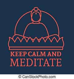 Flat Buddha Icon - Sitting meditating Buddha Icon. Vector...