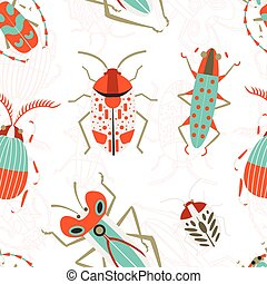 Flat Bugs and Beetles Colored Seamless Background