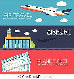 flat building airport with flying plane tour and ticket concept banners or card.  Vector illustration for colorful template for you design, web and mobile applications
