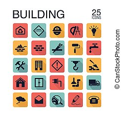 Flat building icons for web. Vector illustration