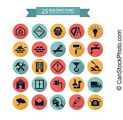 Flat building icons - Round flat building icons for web....