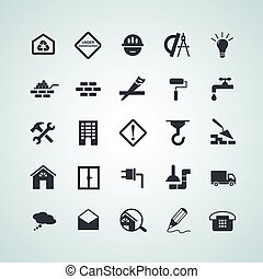 Flat building icons - Simple flat building icons for web....