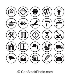 Flat building icons - Simple round flat building icons....