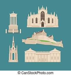 Flat building in Scotland, United Kingdom. Sightseeing and landmark. Architecture of Great Britain. St Giles Cathedral and Edinburgh Castle. Dugald Stewart and Scott Walter Monument