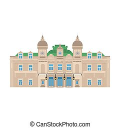 Flat building of Monaco country, travel icon landmark in Monte Carlo. City architecture. World travel vacation sightseeing European. The grand casino.