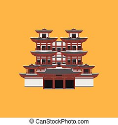 Flat building of Republic of Singapore, travel icon landmark. City architecture. World Asian travel vacation sightseeing. Buddha Toothe Relic Temple in Chinatown in Singapore